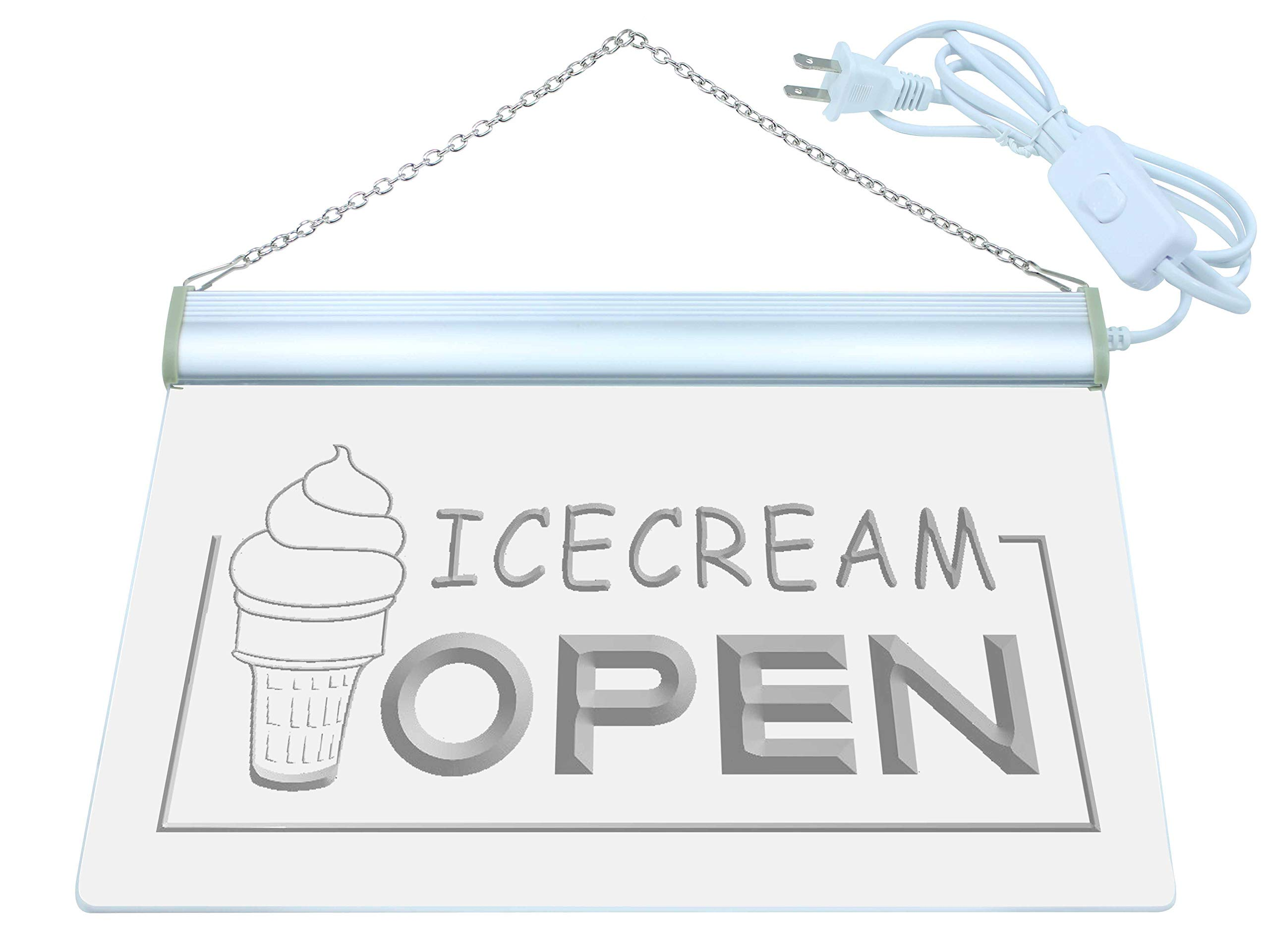 ADV PRO Multi Color m079-c Ice Cream Shop Open Neon LED Sign with Remote Control, 20 Colors, 19 Dynamic Modes, Speed & Brightness Adjustable, Demo Mode, Auto Save Function
