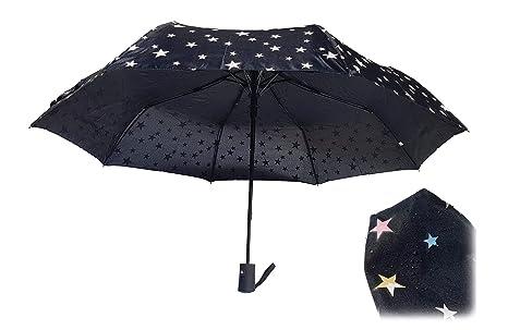 Paraguas Plegables Infantil Apertura automática, Cambia Color con Agua (Negro)