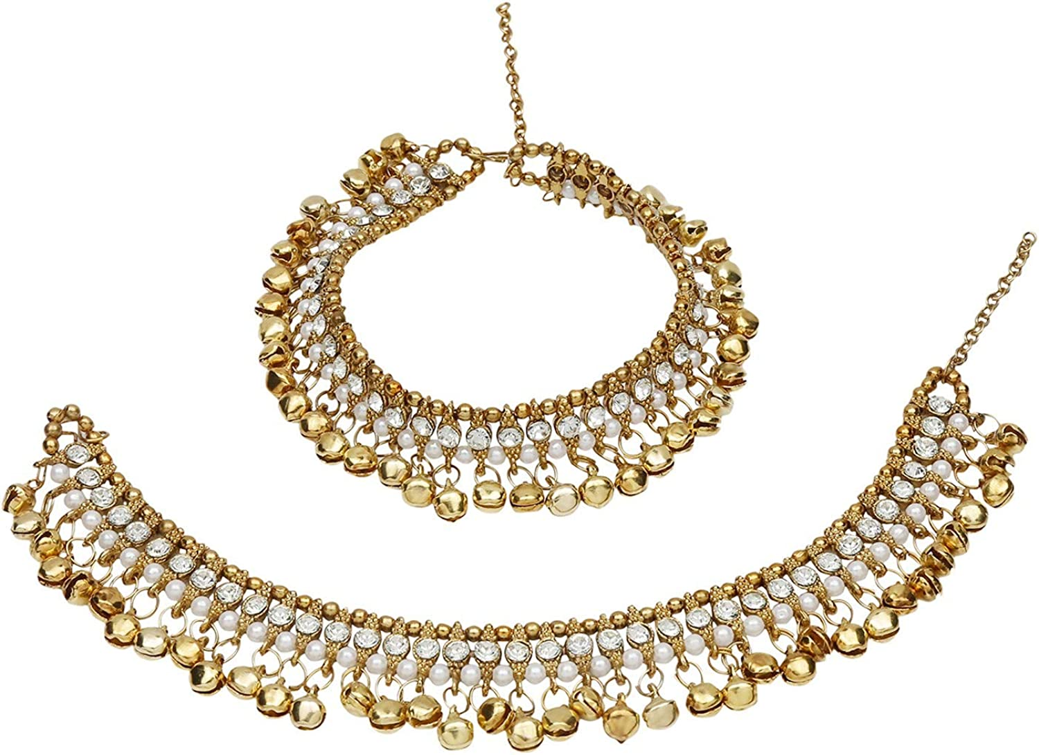 Bracelet Payal Foot Jewelry 2 Piece Efulgenz Indian Bollywood Gold Plated Faux Kundan Pearl Wedding Bridal Anklet Pair