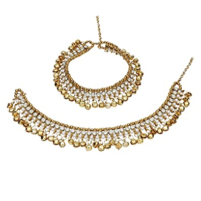 Indian Wedding Bridal Gold Plated Ethnic Rhinestone Pearl Payal Anklets Jewelry Fashion Jewelry