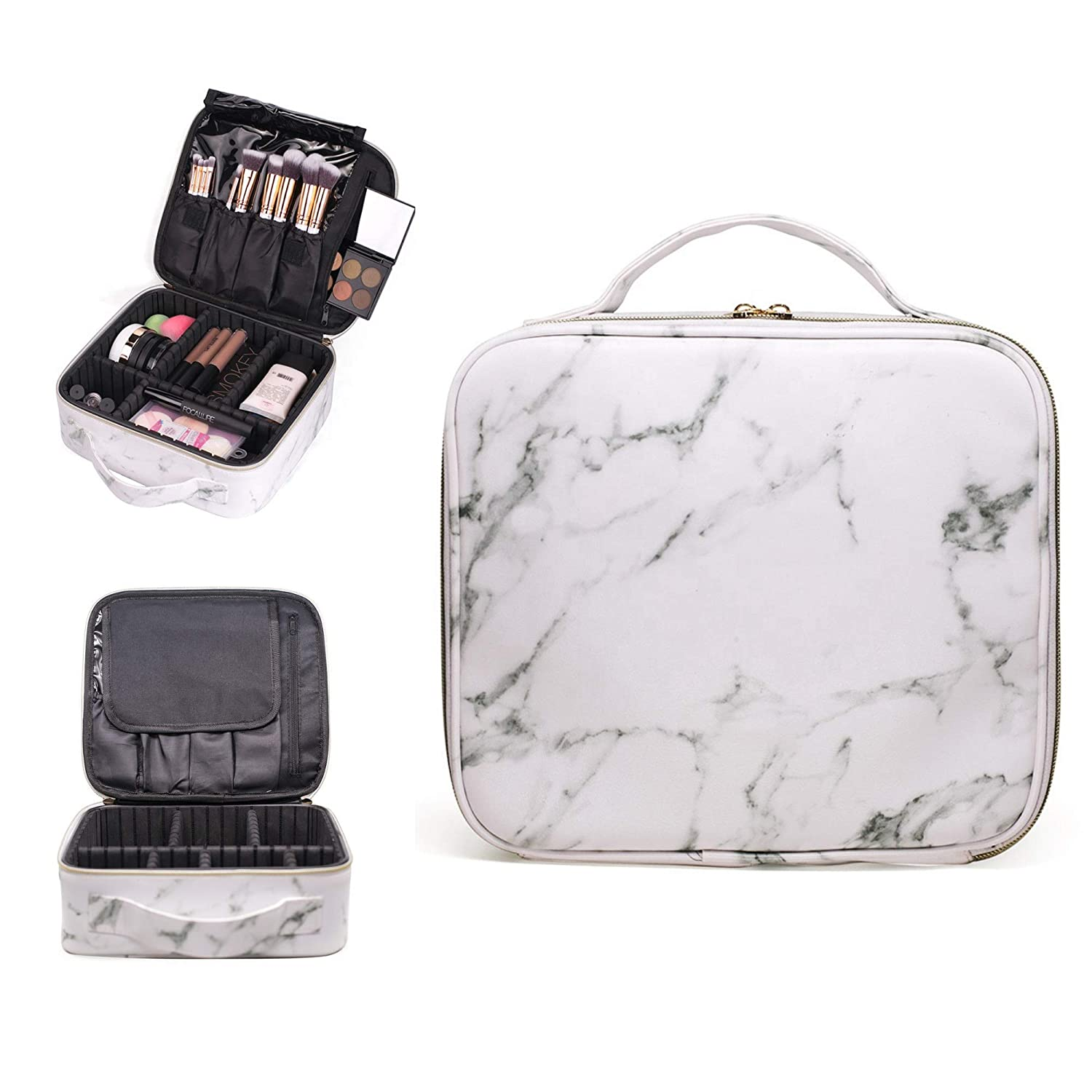 R R Beauty Luxury White Marble Travel Makeup Bag Train Case, Waterproof Cosmetic Case with Adjustable Dividers for Makeup, Toiletries, and Electronics