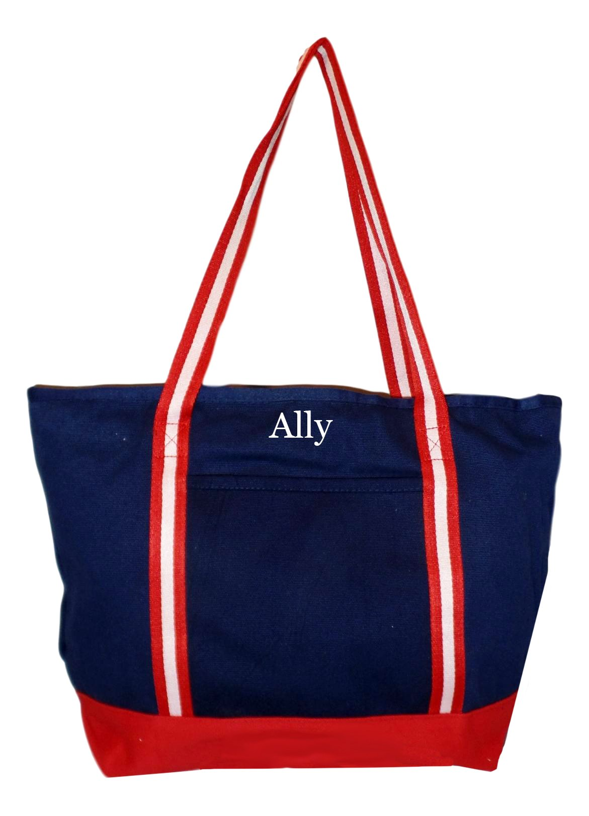 Premium Large 24 oz Cotton Canvas Zipper Top Tote Shopper Bag - Custom Available (Navy with Red White Straps - Embroidered Name)