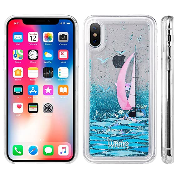 pretty nice 339ca ba554 Apple iPhone X Case - Sparkle Glitter [Liquid Quicksand] Floating Waterfall  Fusion Bling Protective TPU Gel Bumper Cover Case - (Sailing in Paradise)  ...