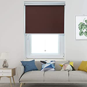 Allesin Blackout Roller Shades Window Shades and Cordless Blinds for Home & Office, Brown, 24 x 72 Inch