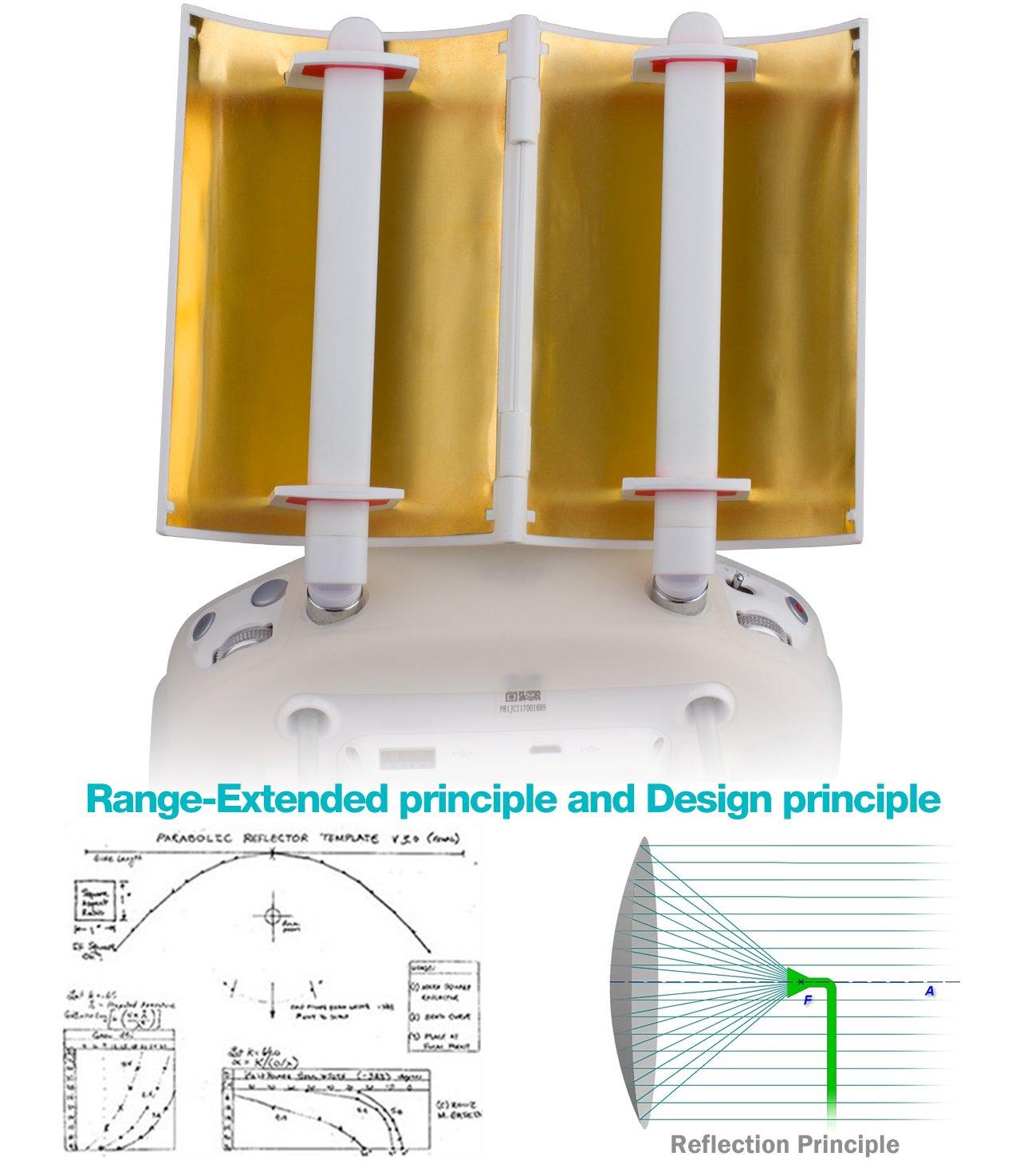 TOZO Antenna Signal Range Booster Parabolic Foldable for DJI Phantom 4 Gold Phantom 3 Professional//Advanced Inspire 1//2 Controller Transmitter Signal for Extended Extend