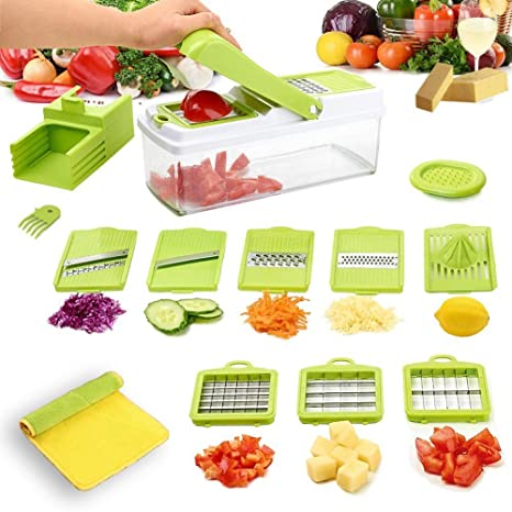 Cortador de verduras, vinmas Multi vegetal Chopper cortador Slicer Mandolina con recipiente de almacenamiento,