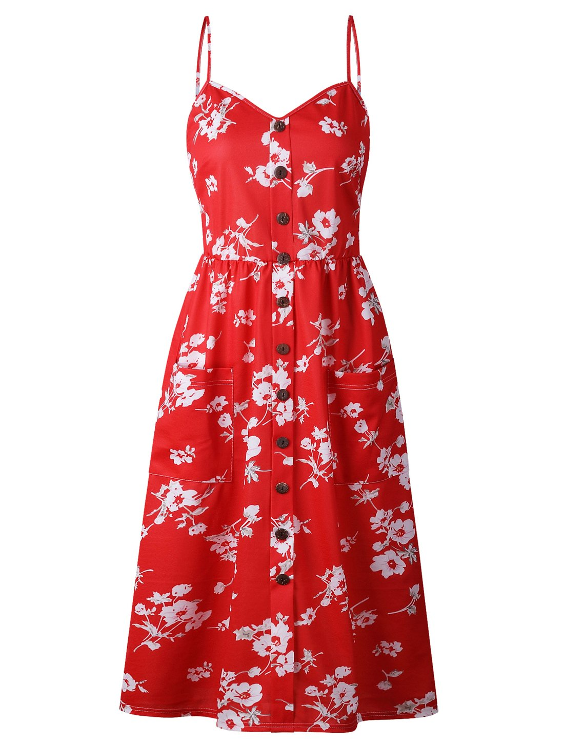 BABAKUD Women's Dresses Summer Red Floral Spaghetti Strap Button Down Midi Dress with Pocket, Size S