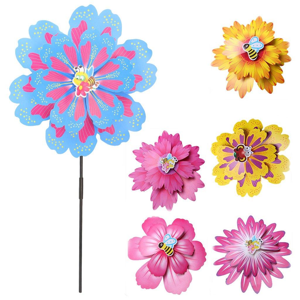ECMQS DIY Größer Doppelt Schicht Blume Windmühle Kinder Spielzeug, Garten Dekoration Ornament bunt Draußen Wind Spinner, 1 STÜCK Zufällige Farbe