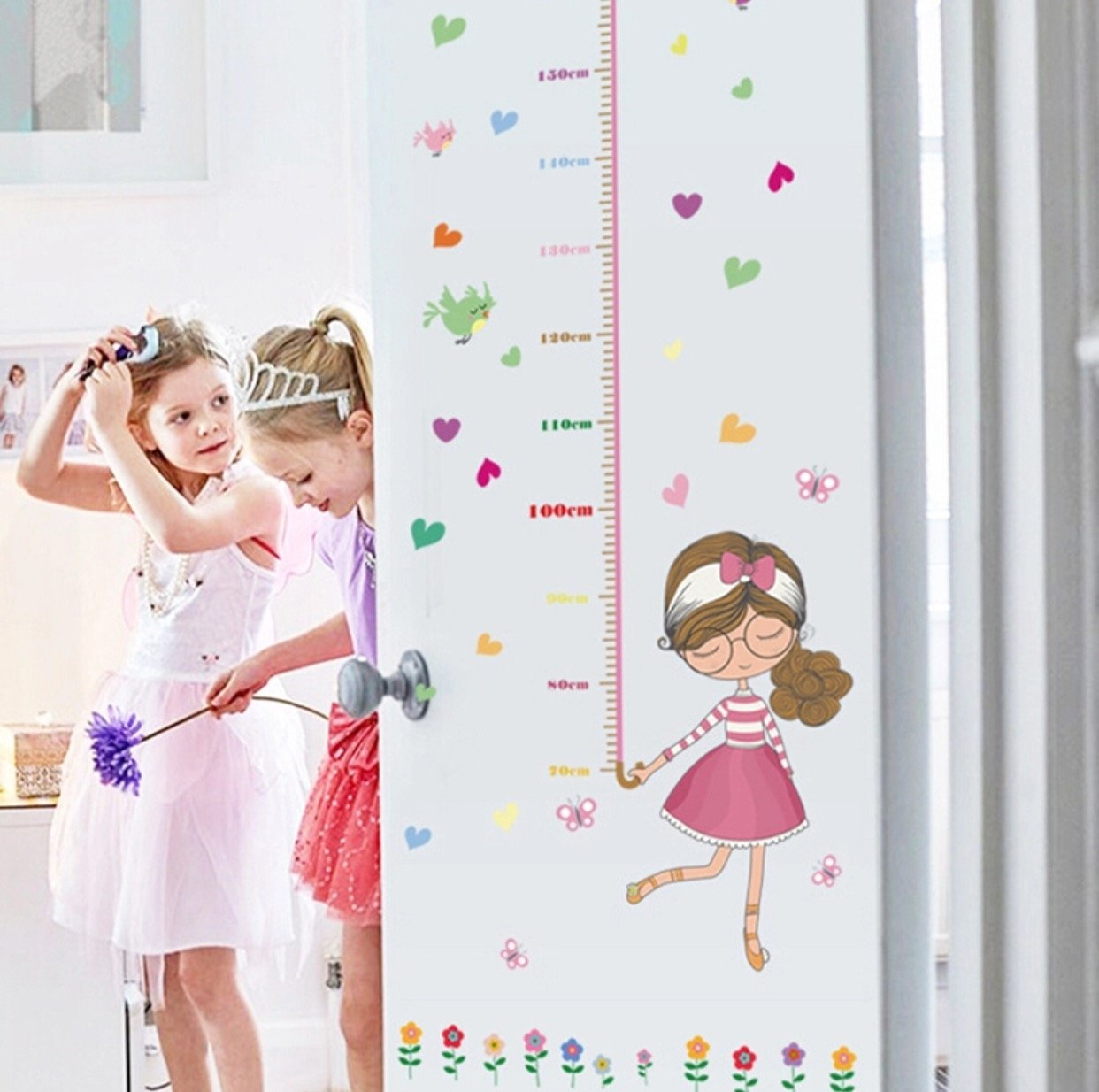 Decorative Children Room Lovely Girl Removable Wall Stickers Height Measure For Kids Room Wall Decal Home Decals Christmas Gift CM1022 Sticker world