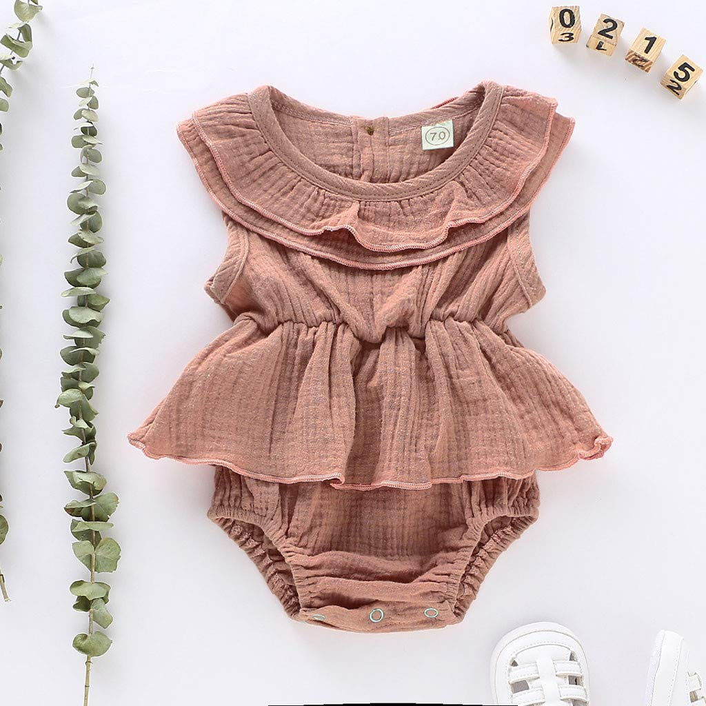 Infant Newborn Baby Girl Solid Romper Bodysuit Ruffle Sleeveless One Piece Jumpsuit Outfit Summer 0-24M Yamally