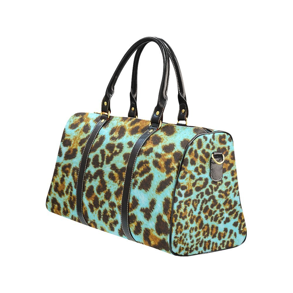 Waterproof Travel Duffel Bag Womens Weekend Bag Green Leopard Mens Luggage Bag For Gym Sports Overnight Trip