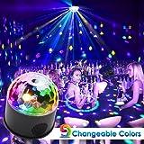 KOOT Disco Ball Lights, 9 Colors Sound Activated Crystal Magic Ball Lights DJ Light for Halloween Christmas Bar Karaoke Club Wedding Party