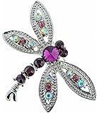 Jodie Rose Amethyst Crystal Dragonfly Base Metal Brooch