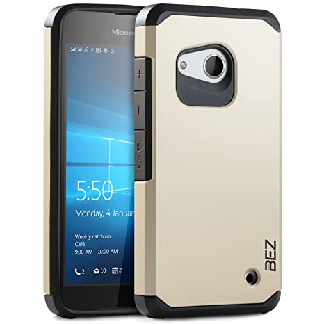 more photos c0611 8d589 Microsoft Lumia 550 Case, BEZ® Shockproof Case Cover, Shock Absorbing Case  Best Heavy Duty Dual Layer Tough Cover for Microsoft Lumia 550 - Gold