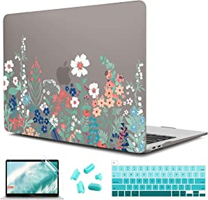 CISSOOK Matte Floral Cover for MacBook Pro 13 inch Case 2020 Release A2338 m1 A2289 A2251 with Touch Bar & Touch ID, Hard Shell Case Grey Cover with Keyboard Cover for MacBook Pro 13 - Grass Flowers