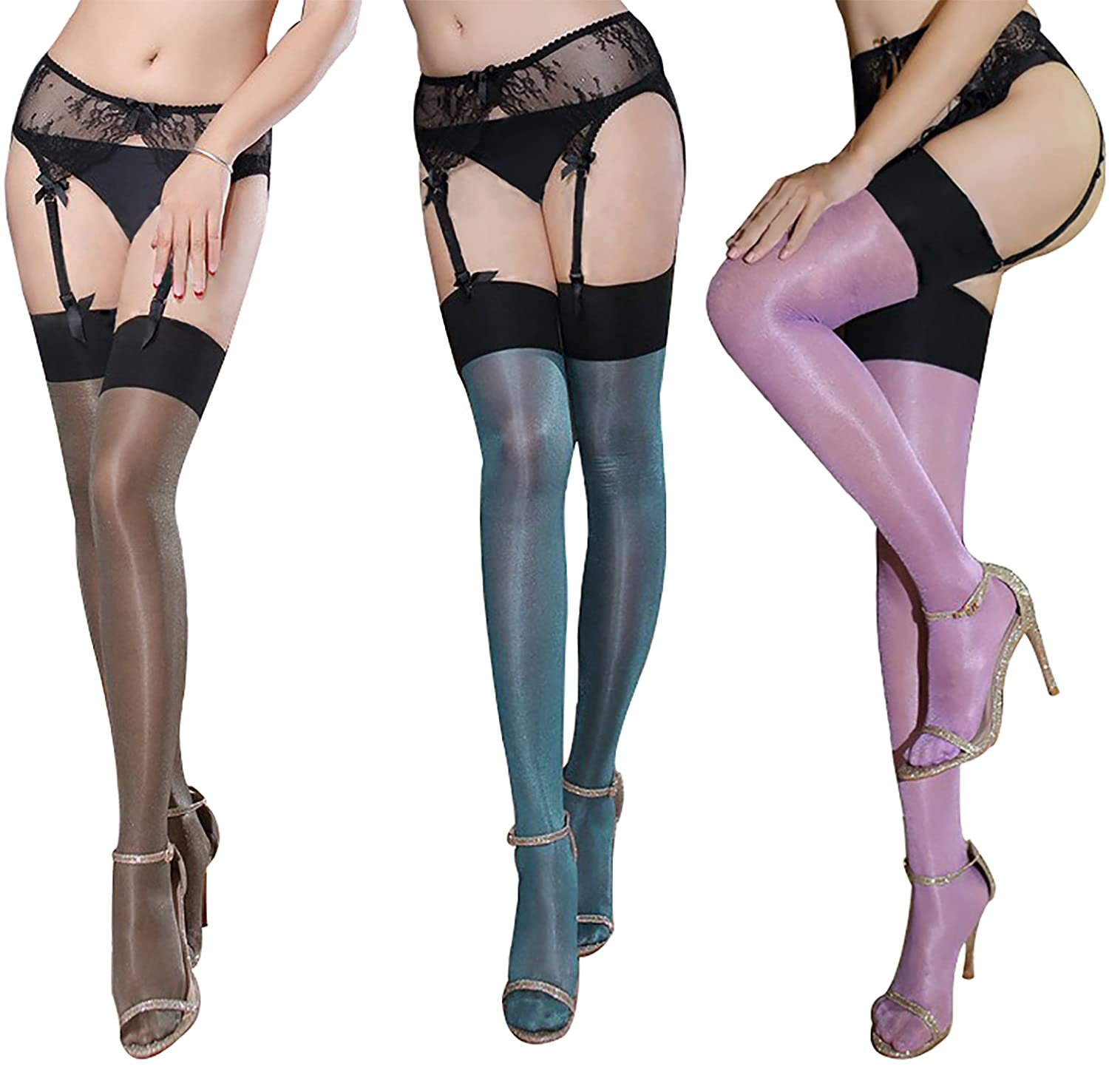 0908 ultra thin sheer thigh high rib top stockings