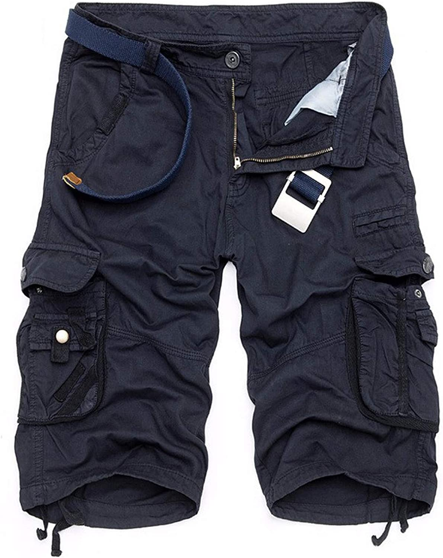 Elibone Summer Mens Camo Cargo Shorts Cotton Military Camouflage Male Jogger Board Shorts Fashion Breathable Business Short DA023,Army Green,29