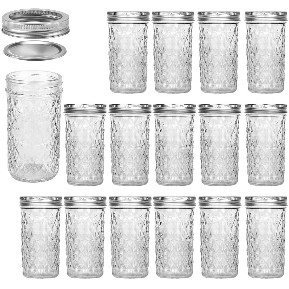 Mason Jars 12 OZ, VERONES Canning Jars Jelly Jars With Regular Lids, Ideal for Jam, Honey, Wedding Favors, Shower Favors, Baby Foods, 15 PACK by VERONES
