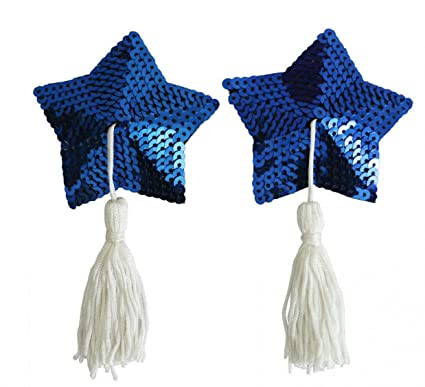 7eb04d23f WODISON Sequin   PU leather Nipple Cover Adhesive Star Sexy Pasties  Reusable for Womens Blue with Tassel (Blue with Tassel)  Amazon.co.uk   Clothing