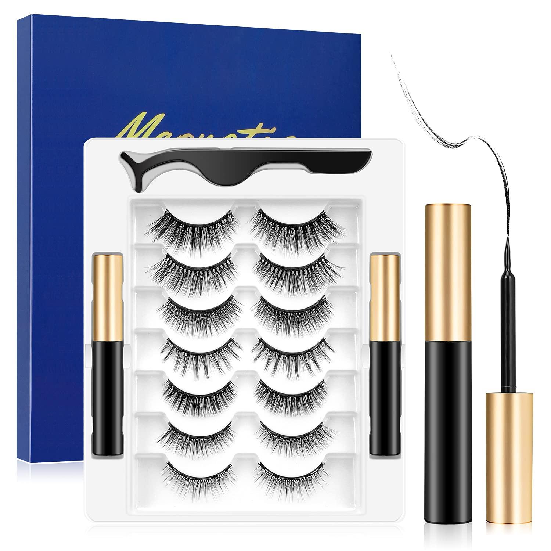 WZS 7 Pairs Magnetic Eyelashes with EyelinerMagnetic Lashes with 2 Tubes and