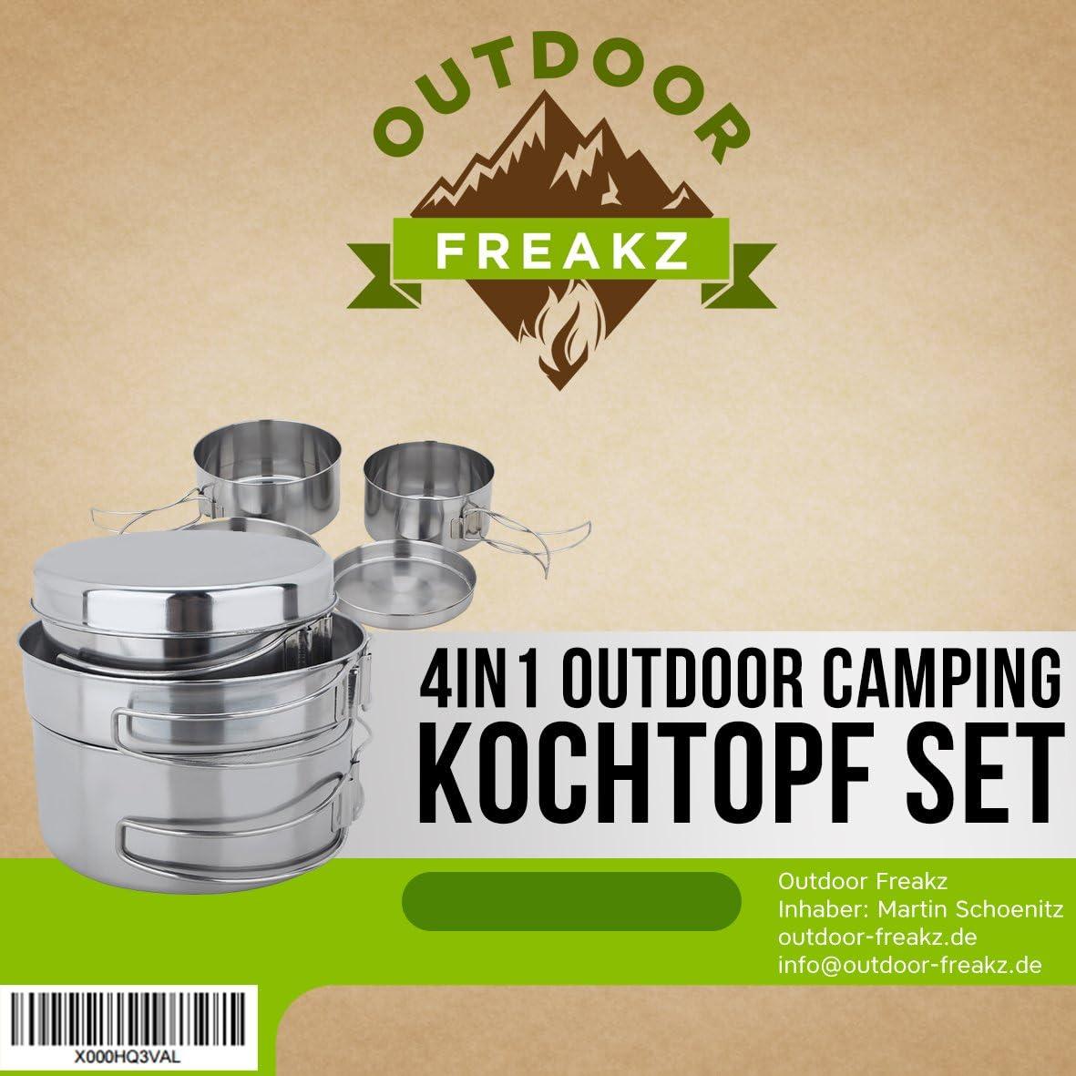 /Juego de Olla y sartenes de Acero Inoxidable de Camping Al Aire Libre Freakz/ Camping bater/ía de Cocina