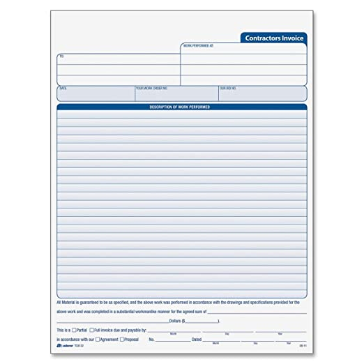 Amazoncom Adams Contractors Invoice Book X Inch - Blank plumbing invoice free online store credit cards guaranteed approval