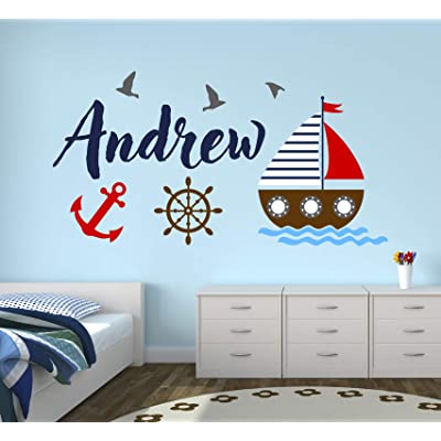 "Custom Nautical Name Wall Decal - Bunny Room Decor - Nursery Wall Decals - Sailboat Wheel Anchor Wall Mural Sticker (30"" x 16""): Baby"