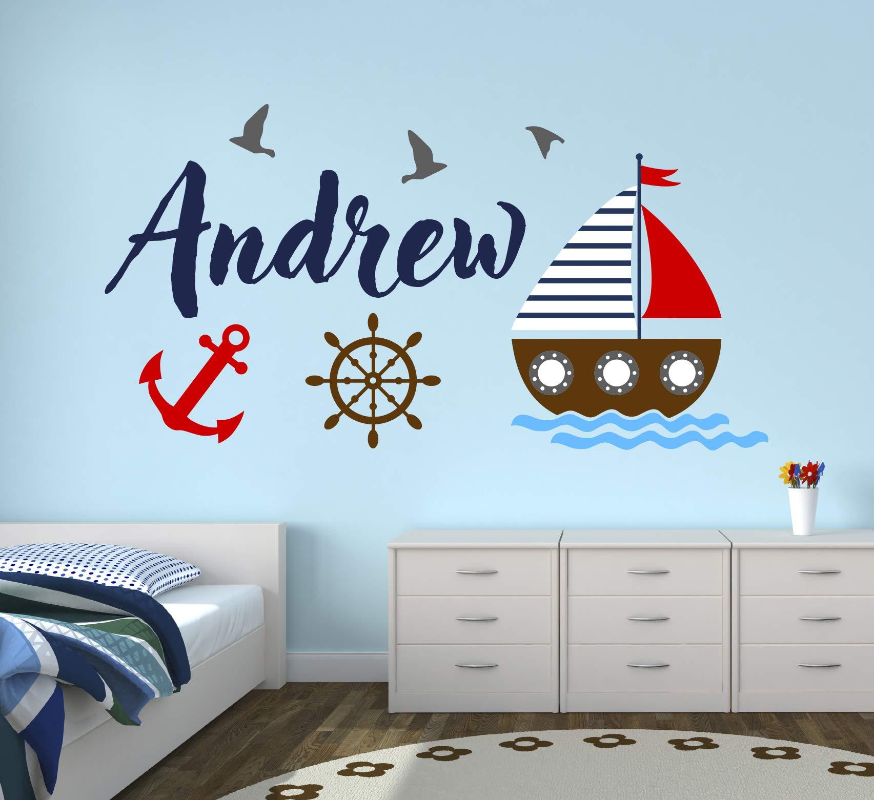 Custom Nautical Name Wall Decal - Bunny Room Decor - Nursery Wall Decals - Sailboat Wheel Anchor Wall Mural Sticker (50'' x 26'') by Decalzone Inc