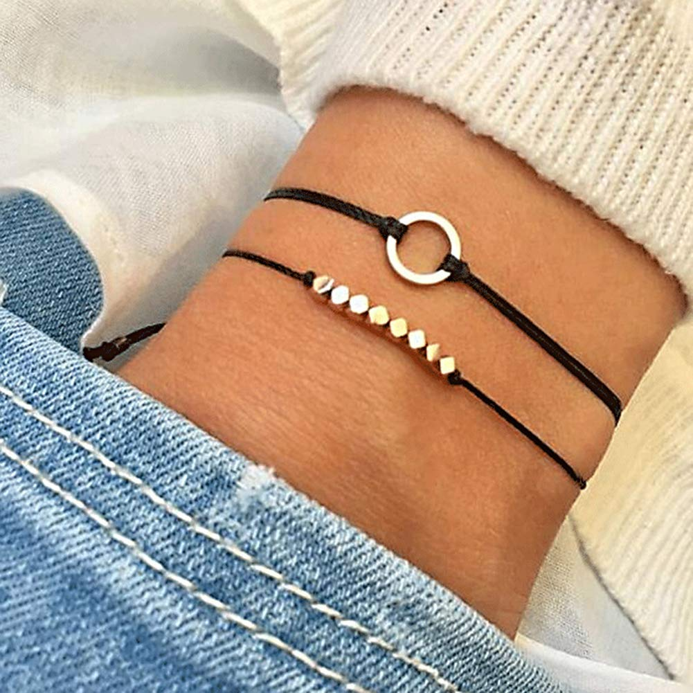 Everrikle Bracelet Bangle Jewelry,2Pcs/Set Bohemian Women Hollow Circle Charm Rope Bracelet Bangle Jewelry Gift