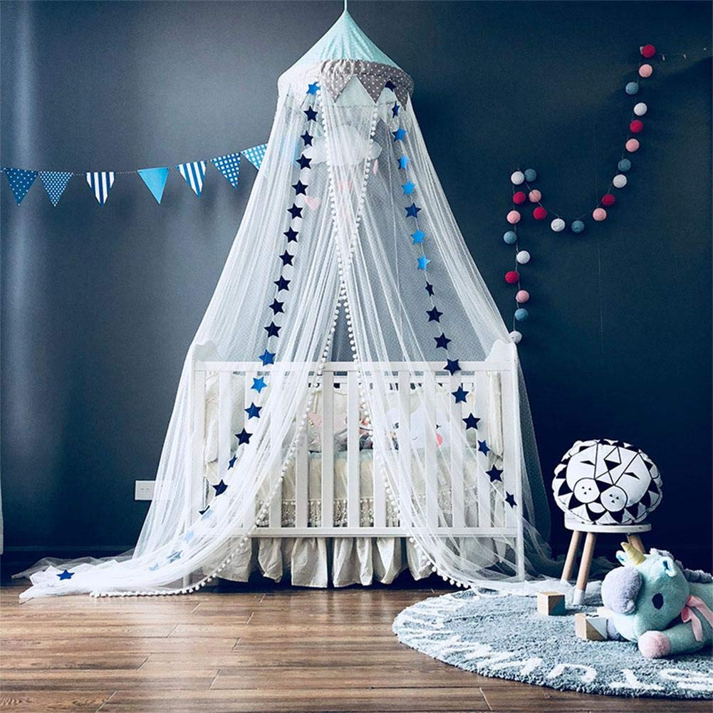Kids Bed Canopy Lace Mosquito Net Dome Hanging Bed Canopy Play Tent for Children Room Decoration
