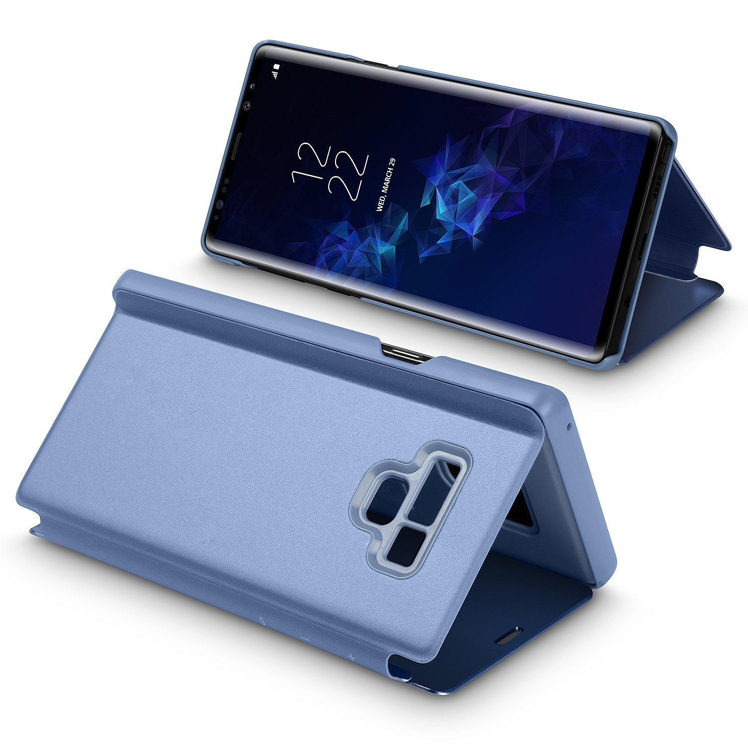 Galaxy Note 9 Case,WATACH Smart Clear View Makeup Mirror Electroplate Plating Kickstand Feature Full Body Protective Flip Folio Cover for Galaxy Note 9 (Blue) by WATACHE (Image #2)