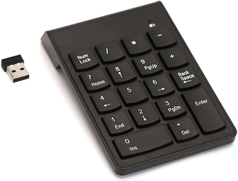 Numeric KeypadWireless Number Pad Mini Slim Portable 18 Key Data Entry Financial Calculator Number Keyboardwith Comfortable Ergonomic Design for TabletLaptop Notebook PC Desktop