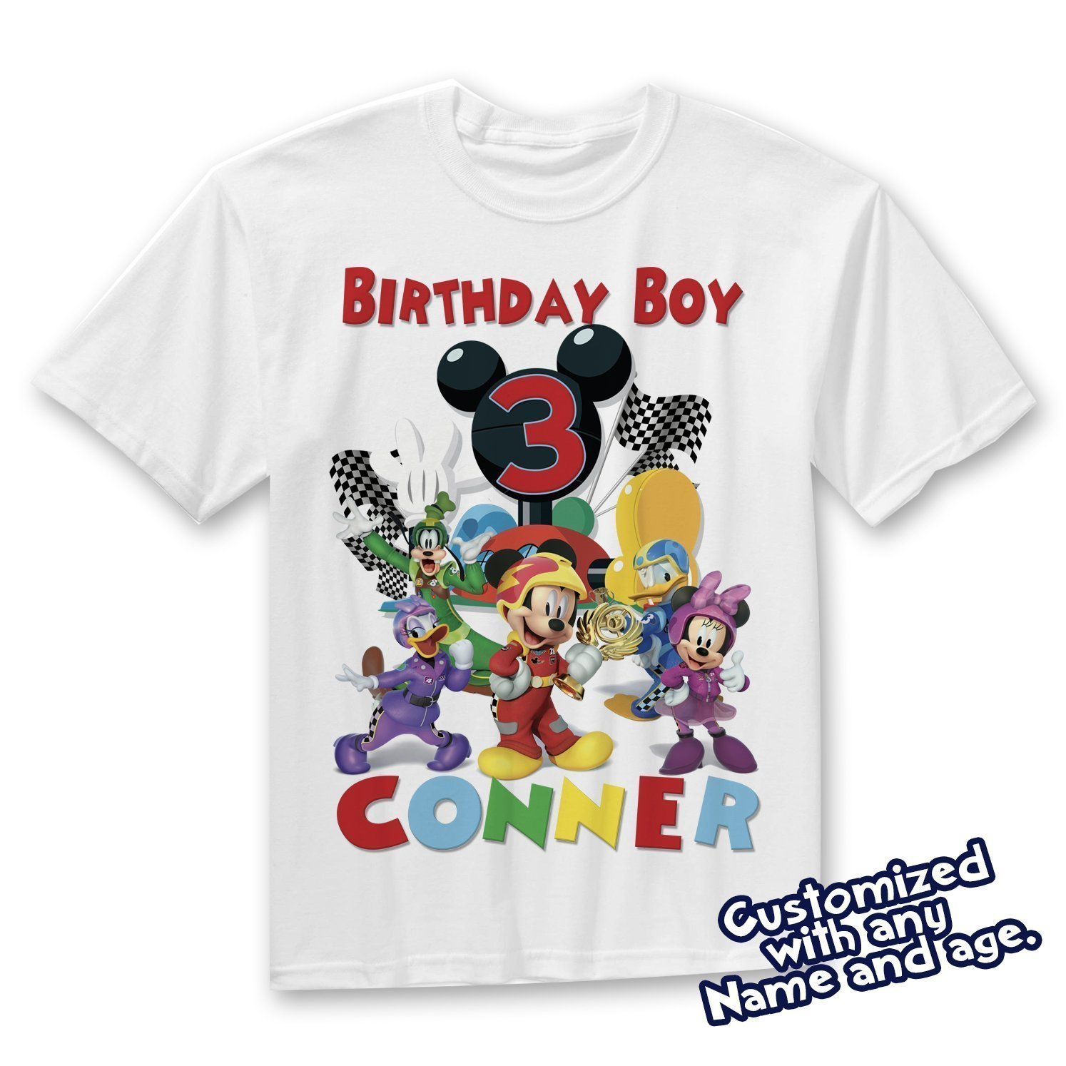 Mickey Roadster Racers Birthday Shirt, Shirt Personalized With Name and Age - Mickey Racing Birthday Shirt