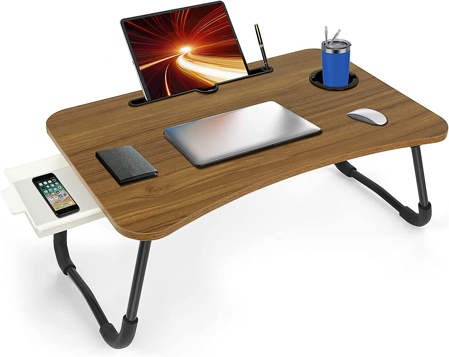 Laptop Desk for Bed,Fayquaze Foldable Laptop Bed Tray Table with Storage Drawer and Cup Holder,Lap Desk Laptop Desk Stand Laptop Table Serving Tray for Eating, Reading and Working on Bed Couch Sofa