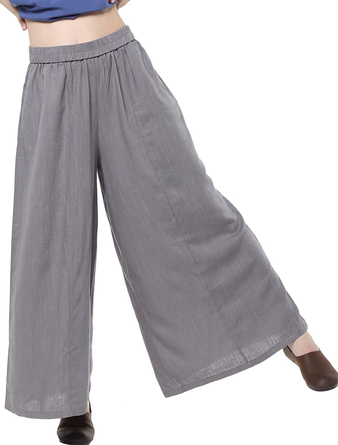 Mordenmiss Women's Linen Wide Leg Elastic Waistband Pants with Pockets CA-W2993