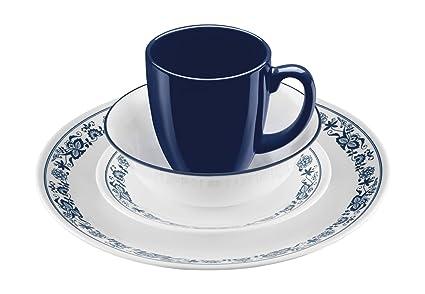 Corelle 16 Piece Old Town Blue Livingware Dinnerware Set White  sc 1 st  Amazon.com & Amazon.com | Corelle 16 Piece Old Town Blue Livingware Dinnerware ...