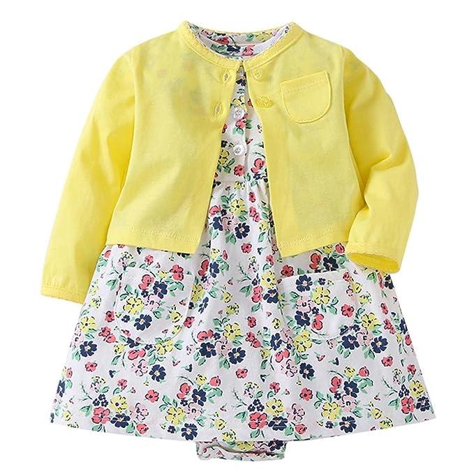 2pcs chaquetas ropa para bebé ,Yannerr Niñas recién nacidos impresión floral abrigos capa + vestido