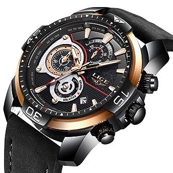 LIGE La Moda Relojes Hombre Los Deportes Impermeable Cuarzo simulado Reloj Dial Grande Negro Cuero La Correa Relojes de Pulsera: Amazon.es: Relojes