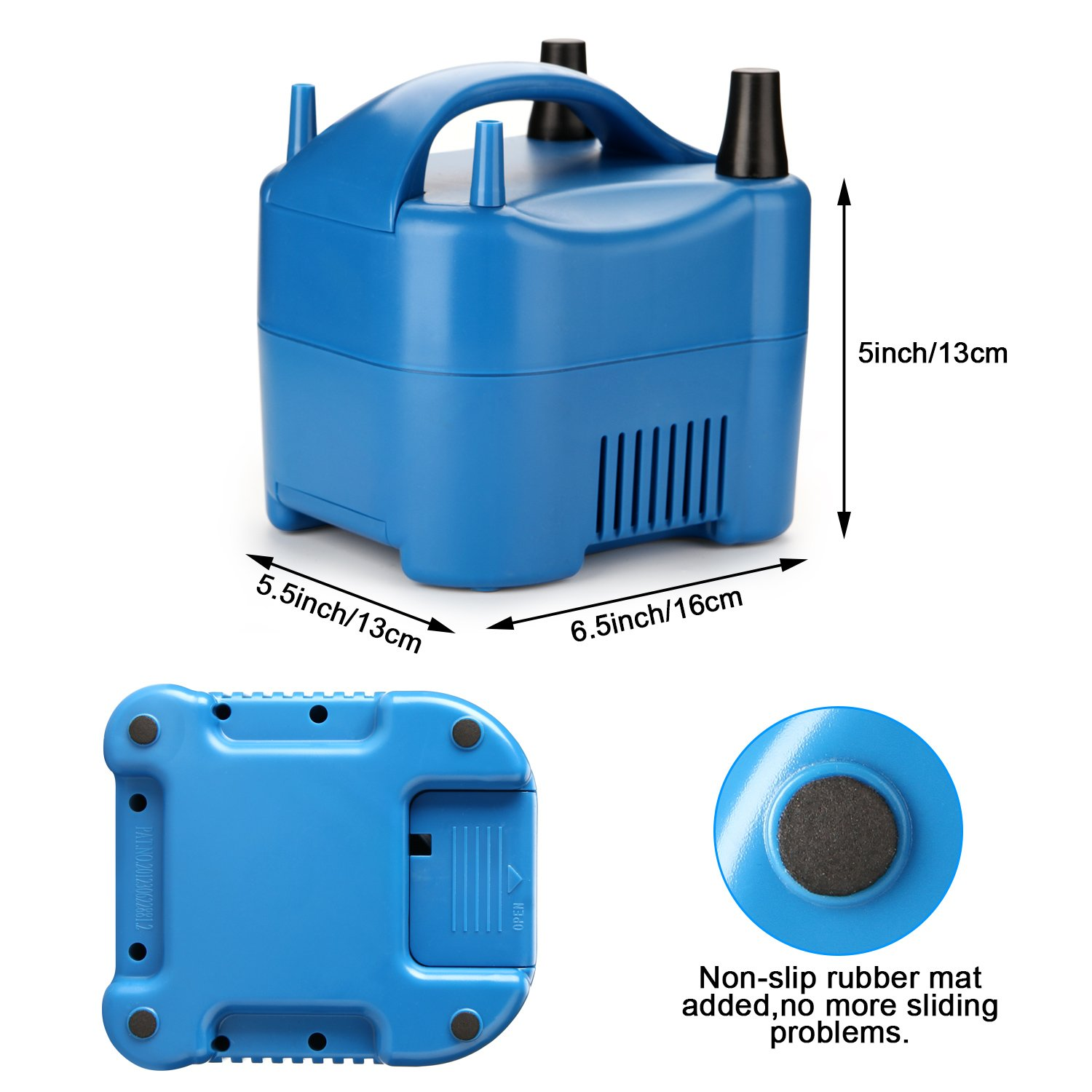 AGPtek Two Nozzle High Power Electric Balloon Inflator Pump Portable Blue Air Blower,680W High Power,Inflate In One Second by AGPTEK (Image #4)