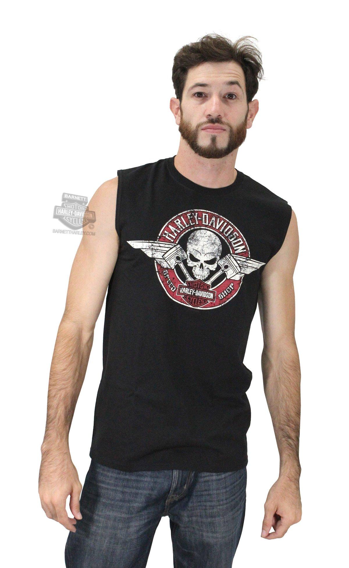 Harley-Davidson Mens Flying V Skull with Pistons Black Sleeveless Muscle Shirt