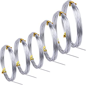 Sunmns 6 Rolls Silver Aluminum Wire, DIY Craft Art Wire, Soft and Flexible Metal Iron Wire, 1mm, 1.5mm, 2mm, 3mm in Thickness