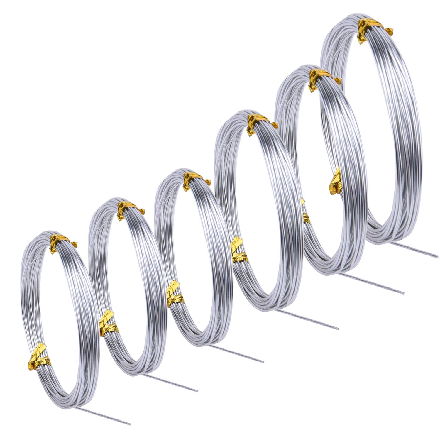 Sunmns 6 Rolls Silver Aluminum Wire, DIY Craft Art Wire, Soft and Flexible Metal Iron Wire, 1mm, 1.5mm, 2mm, 3mm in Thickness SunmnDirect