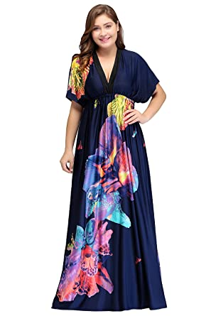 Women Short Sleeve V Neck Maxi Floral Plus Size Beach Dresses At