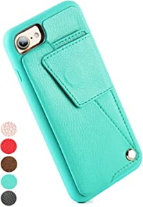 ZVEdeng iPhone SE2 Wallet Case, iPhone 8 Wallet Case, iPhone 7 Wallet Case with Credit Card Slot Holder Rotational Magnetic Flip Case Protective Cover for iPhone SE2/7/8 4.7 inch-Mint Green