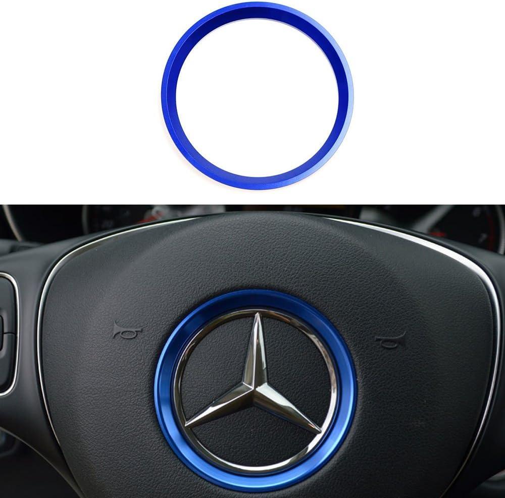 Blue, 2 Inner Ring Size etc Duoles Sports Aluminum Steering Wheel Center Decoration Cover Trim for Mercedes B C E CLA GLA GLC GLK Class