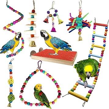 Giochi per uccelli pappagalli, PietyPet 8 Pezzi Trespoli e posatoi Giocattoli Gabbia, Colorato legno Scalette giocattolo, Corda Perch per Piccoli e