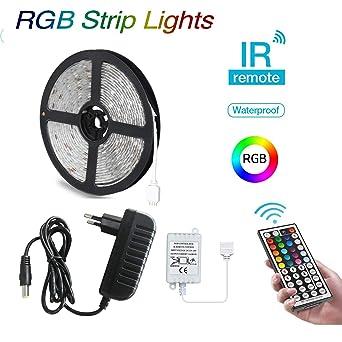 BRTLX Tiras LED 5M RGB 5050,Impermeable IP65 Tiras de Luces LED Iluminación con Control