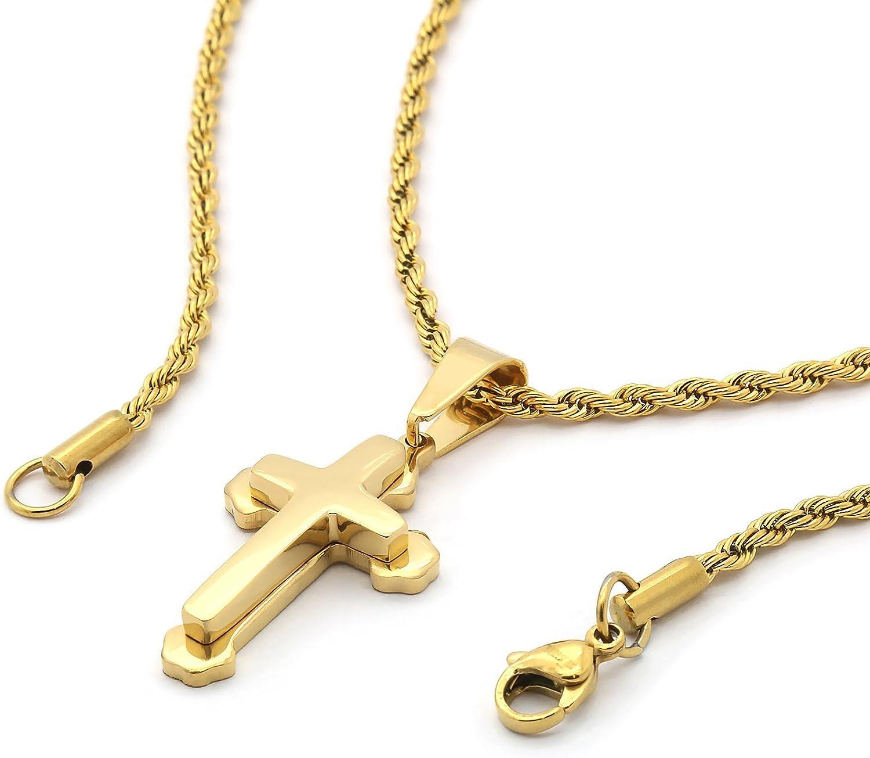 "24/""MEN Stainless Steel 8mm Gold Silver Interlock Bones Necklace Cross Pendant*N7"
