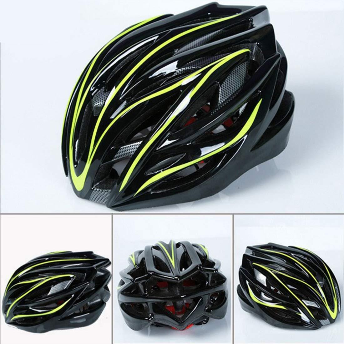 LKJASDHL 取り外し可能なバイザーが付いている のエアフローバイクヘルメットパッドを入れられた及び大人の男性と女性と若者のティーンエイジャーのために調節可能快適な軽量通気性の屋外の乗馬用品 イエロー