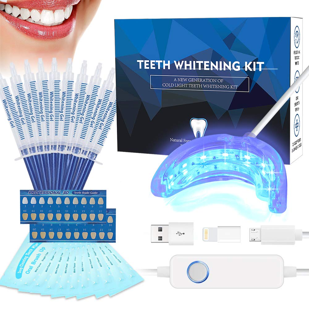 Teeth Whitening Kit Professional, Tooth Whitening Gel, Non-Sensitive Stain Remover for White Teeth, Led Accelerator Light,10 of 3 ml Tooth Whiten Gel,15 Min Express Result